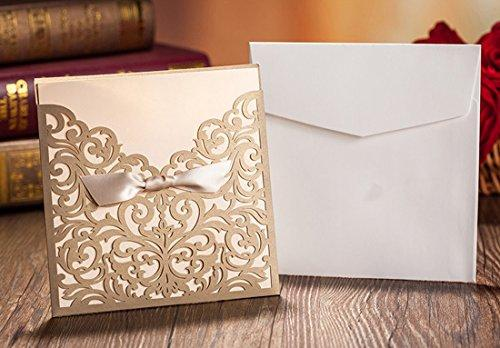 WISHMADE 50 Count Square Laser Cut Invitations Cards Kits