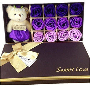Mr.Pro 12 Flora Scented Bath Soap Rose Flower with Baby Bear Doll,
