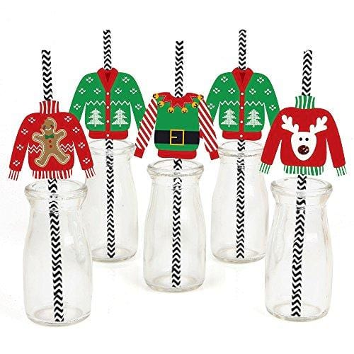 Big Dot of Happiness Ugly Sweater Paper Straw Decor
