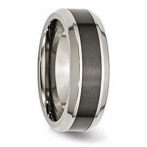 Titanium Base with Polished Black Ceramic Center Beveled