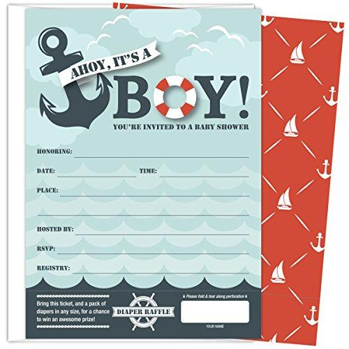 KokoPaperCo It's A Boy Nautical Baby Shower Invitations