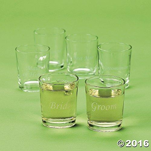 Etched Glass Wedding Party Shot Glasses