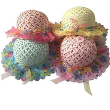 Girls Sunflower Straw Tea Party Hat Set