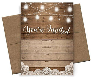 Rustic Fill-in Party Invitations