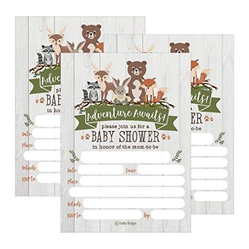 25 Cute Rustic Woodland Forest Animals Baby Shower Invitations