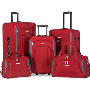 Flieks 5 Piece Set Expandable Rolling Suitcase Softshell Deluxe Luggage Set