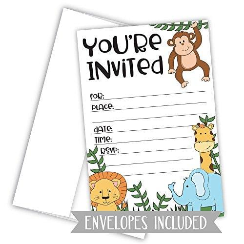 Jungle Safari Zoo Animals Invitations for Birthday or Baby Shower