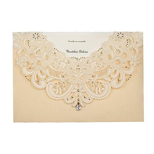 Wishmade 50x Gold Laser Cut Flora & Lace Wedding Invitations