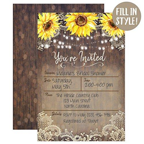 Country Lace and Sunflower Invitations