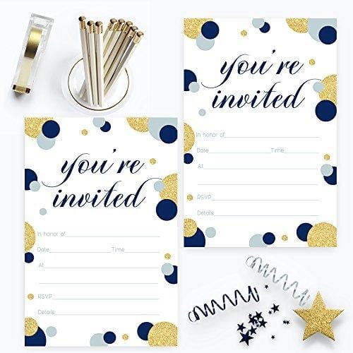 Navy and Gold Invitations with Blue Envelopes Fill In Set