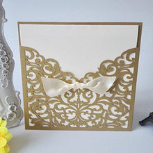 50PCS Pear Paper Laser Cut Bronzing Wedding Baby Shower Invitation Cards