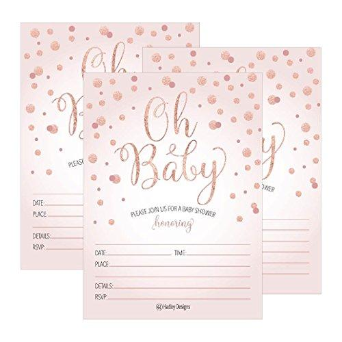 25 Blush Rose Gold Girl Oh Baby Shower Invitations