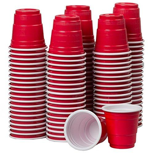 120ct Mini Red Cups 2oz Plastic Disposable Shot Glasses