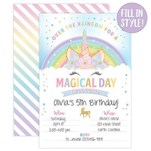 Unicorn Birthday Invitation