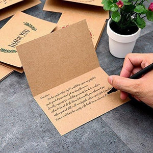 Ohuhu 36 Pack Brown Kraft Paper Thank You Cards Thank U Greeting Card