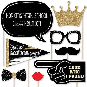 Big Dot of Happiness Personalized Reunited Custom School Class Reunion Party Photo Booth Props Kit