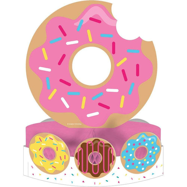 Creative Converting All Over Print Plastic Tablecover, Donut Time