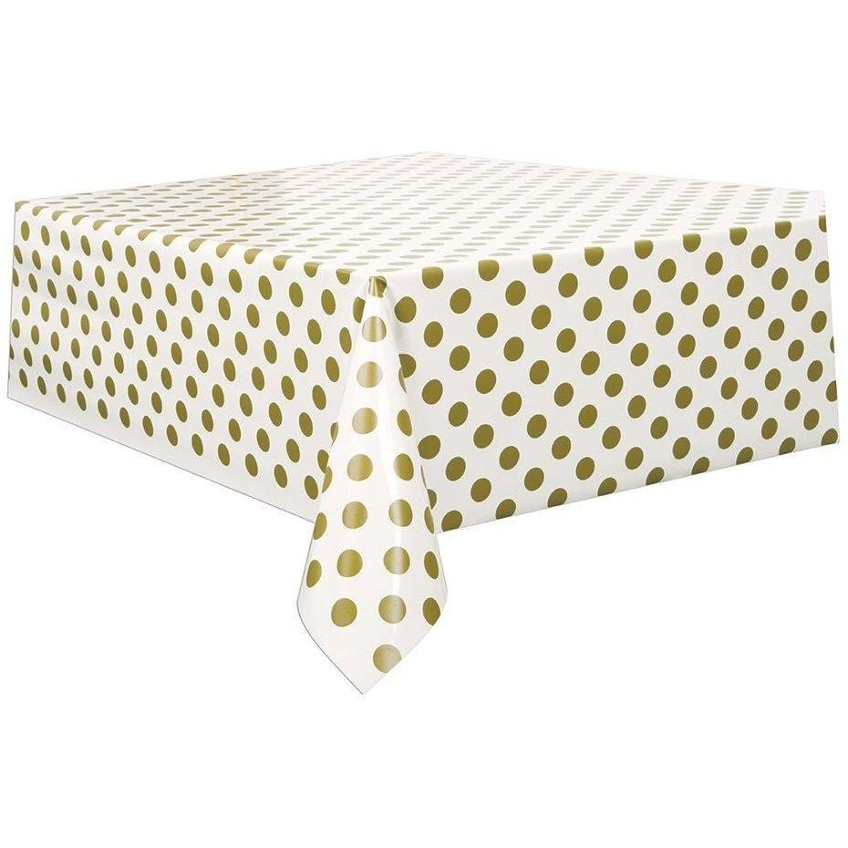 Gold Polka Dot Plastic Tablecloth