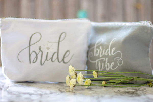 SET of Grey Bride Tribe and Bride Canvas Makeup Bags