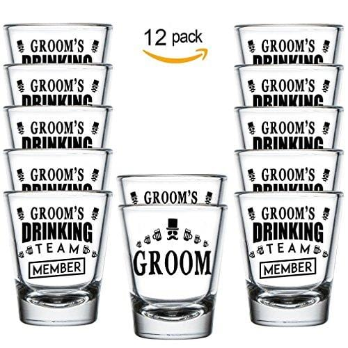 Groom and Groom's Drinking Team Member Shot Glasses