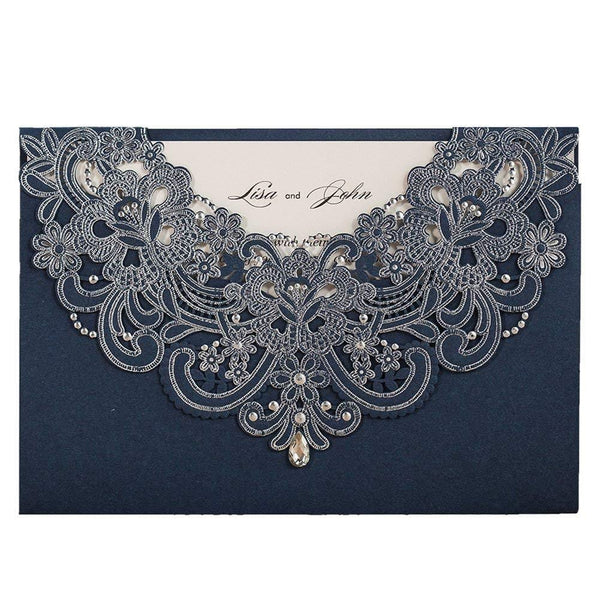 50X Wishmade Blue Laser Cut Flora & Lace Wedding Invitations