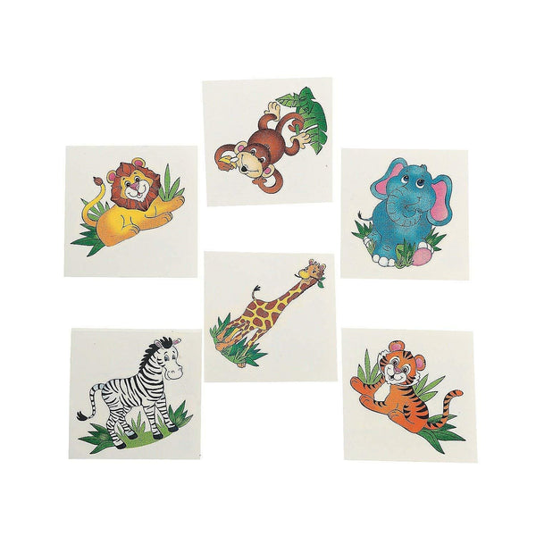 ZOO ANIMAL TATTOOS/Zebra/LION/Elephant/MONKEY/Tiger/GIRAFFE/Safari/JUNGLE/Birthday PARTY FAVORs