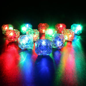 Konsait Flashing Led Light up Ring Toys Diamond Grow in the Dark Jelly Bumpy Rings