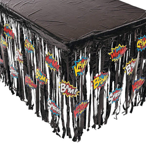 Fun Express Foil Superhero Table Skirt with Cutouts