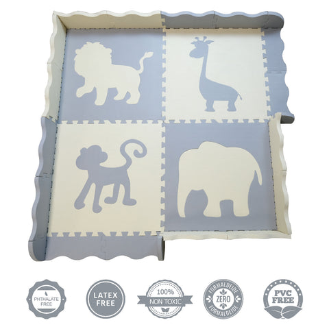Additional Baby Play Mat | Grey & Ivory Large Foam Interlocking Floor Tile Pieces - INEX Kids