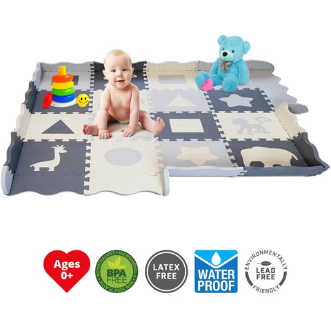 Soft Foam Baby Play Mat w/ Fence | Ultra Thick - INEX Kids