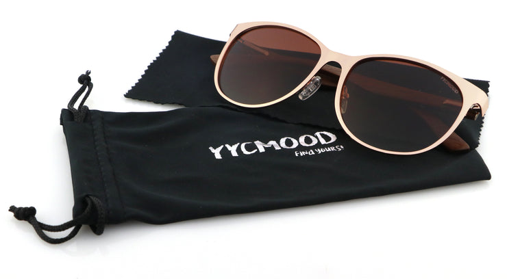 "Wood and Rose Gold Metal Sunglasses with Gradient Brown mirrored lenses ""Louise"""