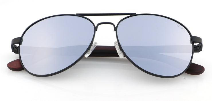 "Wood and Black Metal Sunglasses with Silver mirrored lenses ""San Marino"""