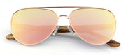"Wood and Metal Sunglasses with Rose Gold mirrored lenses ""San Marino II"""