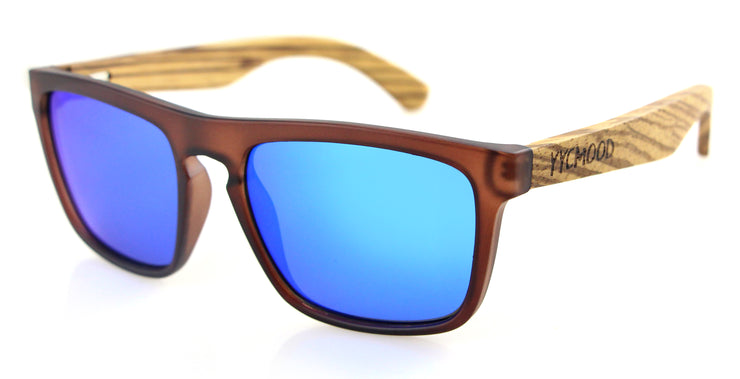 "Wood and Plastic Sunglasses with Blue mirrored lenses ""Miranda"""