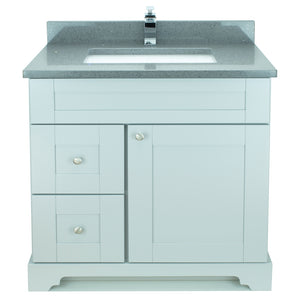"36"" Grey Damian Vanity with Crystal Grey Quartz"