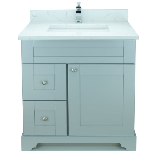 "30"" Grey Damian Vanity with Carrera Quartz"