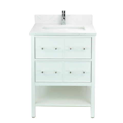 "24"" White Gemma Vanity with Carrera Quartz"