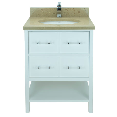 "24"" White Gemma Vanity with Royal Brown Quartz"