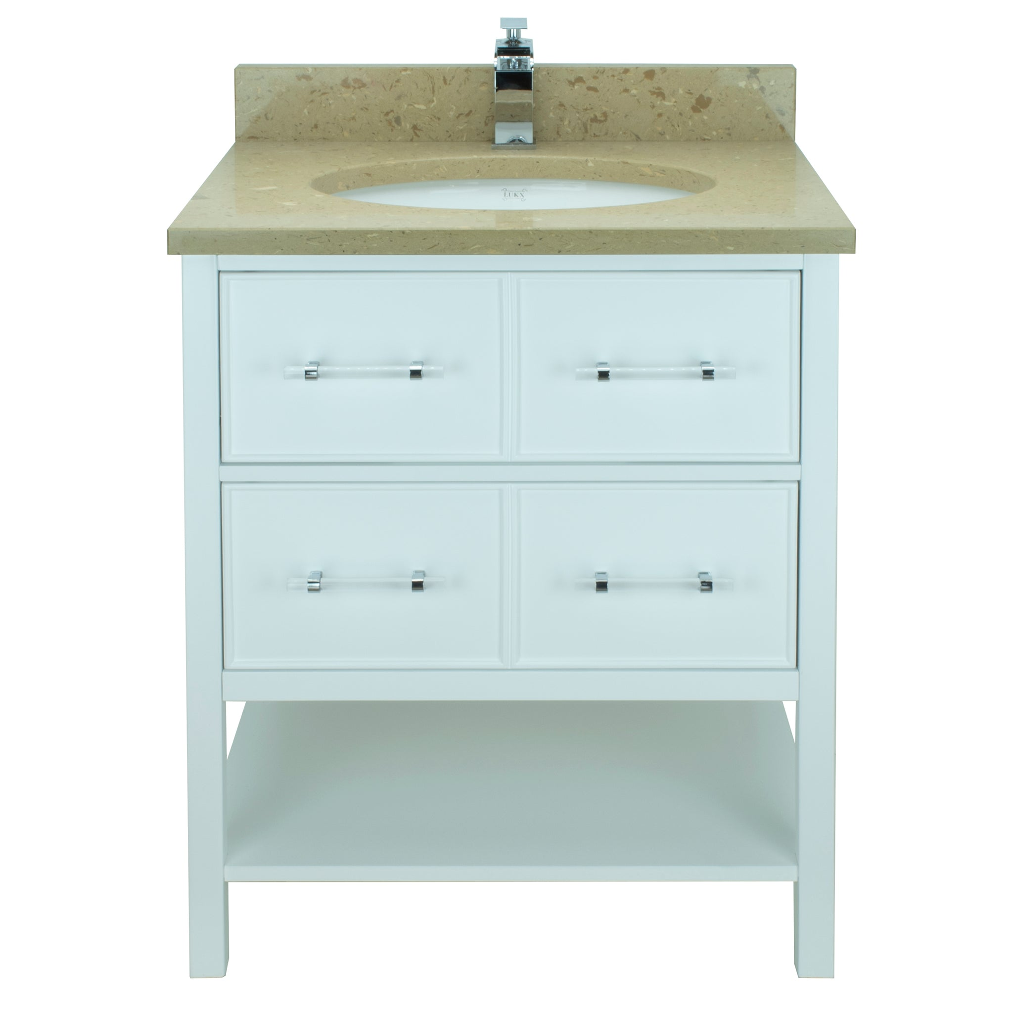 "30"" White Gemma Vanity with Royal Brown Quartz"