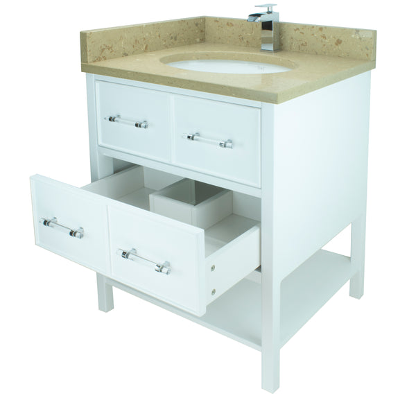 "36"" White Gemma Vanity with Royal Brown Quartz"