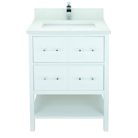 "24"" White Gemma Vanity with Silk White Quartz"