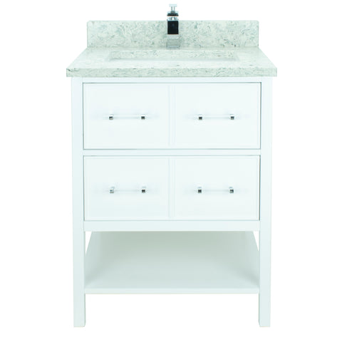 "24"" White Gemma Vanity with Topaz Quartz"