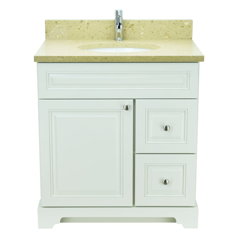 "36"" Antique White Damian Vanity with Royal Brown Quartz"