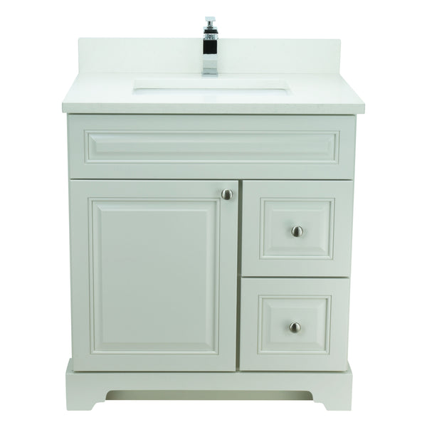 "36"" Antique White Damian Vanity with Silk White Quartz"