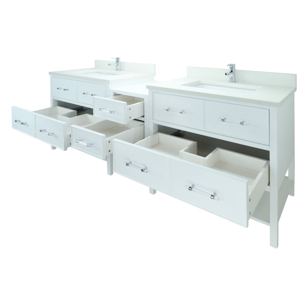 "74"" White Gemma Vanity with Silk White Quartz"