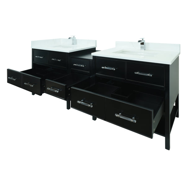 "62"" Black Gemma Vanity with Classic Calcutta Quartz"