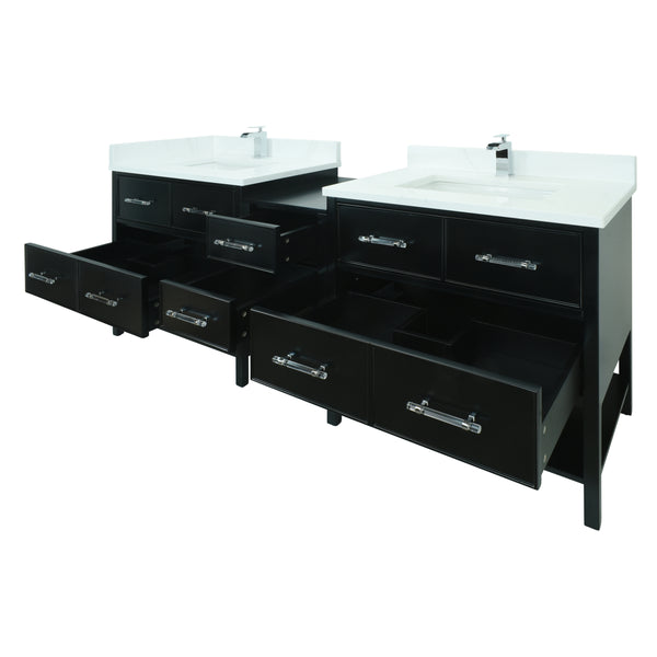 "86"" Black Gemma Vanity with Classic Calcutta Quartz"