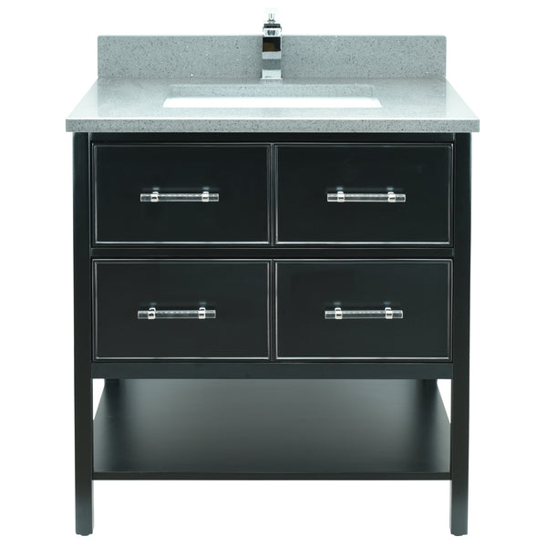 "30"" Black Gemma Vanity with Crystal Grey Quartz"