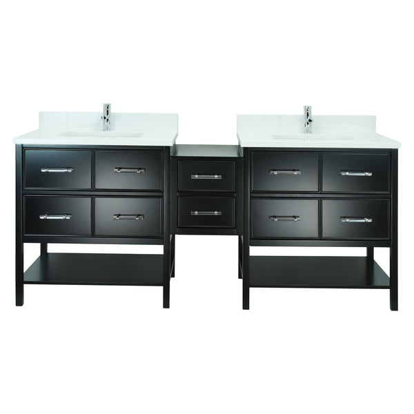 "74"" Black Gemma Vanity with Carrera Quartz"