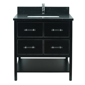 "30"" Black Gemma Vanity with Moonlight Black Quartz"